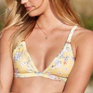 New LA Hearts Swim Sz S Simple Yellow Embroidery Floral Bikini Bottoms Vacation
